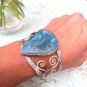 Blue Apatite 925 Cuff Bracelet